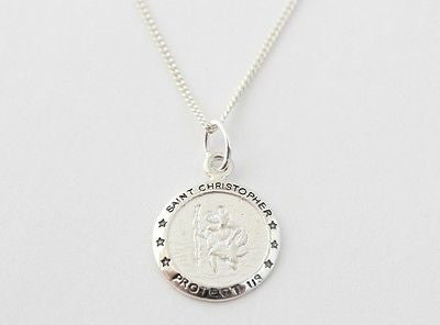BOYS 925 STERLING SILVER SAINT CHRISTOPHER NECKLACE PERSONALISED ENGRAVED, GIFT BOX - Bluerock Bay®