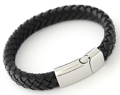 MILAN Black Leather & Stainless Steel Mens Personalised Bracelet Engraved Gift - Bluerock Bay®