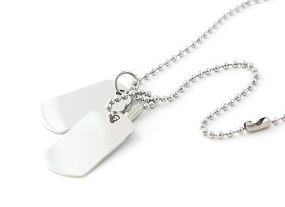 MENS STAINLESS STEEL DOUBLE DOG TAGS & CHAIN ENGRAVED/PERSONALISED FREE GIFT BOX - Bluerock Bay®