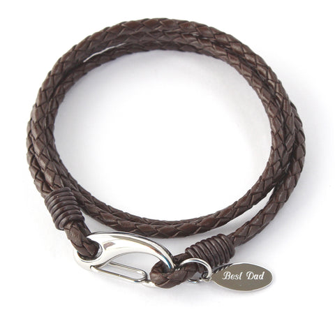 Mens Personalised Brown Leather Wrap Bracelet, Free Engraving & Gift Boxed