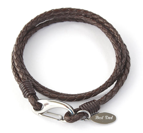 BOYS LEATHER WRAP BRACELET ENGRAVED / PERSONALISED -FREE GIFT BOX