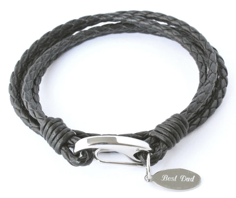 MENS PERSONALISED BLACK LEATHER WRAP BRACELET, FREE ENGRAVING & GIFT BOXED - Bluerock Bay®