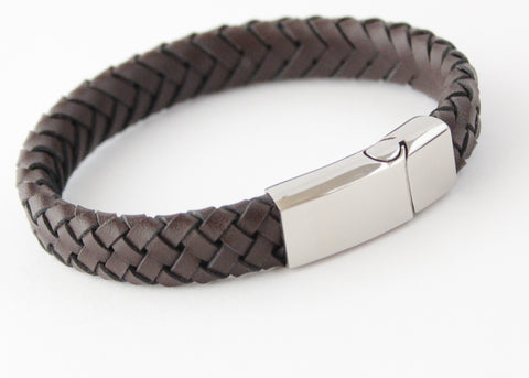 MONZA Brown Leather & Stainless Steel Mens Personalised Bracelet Engraved - Bluerock Bay®