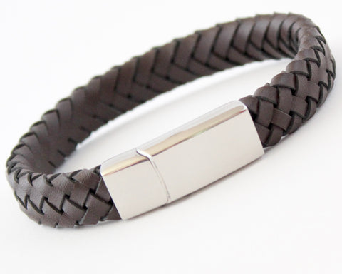 MONZA Brown Leather & Stainless Steel Mens Personalised Bracelet Engraved
