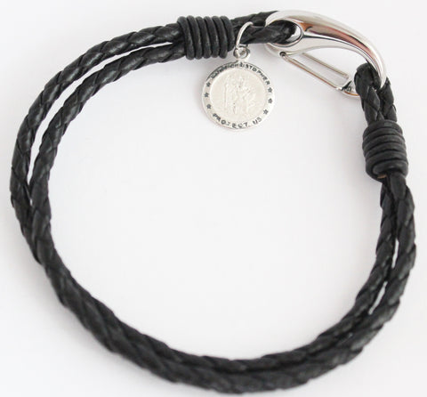 Mens Black Leather Saint Christopher Bracelet Engraved Free Personalised & Gift Boxed - Bluerock Bay®