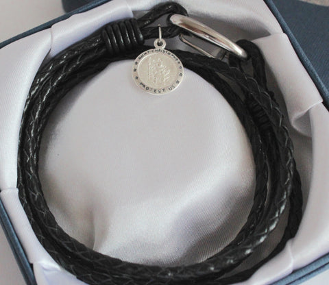 Mens Personalised Black Leather Saint Christopher Wrap Bracelet, FREE Engraving - Bluerock Bay®