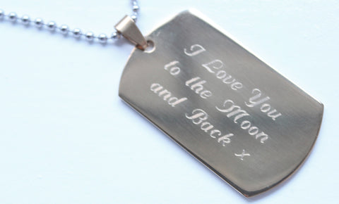 Mens Gold Colour Dog Tag with FREE Personalised Engraving & Gift Box