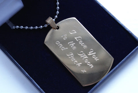 Mens Gold Colour Dog Tag with FREE Personalised Engraving & Gift Box - Bluerock Bay®