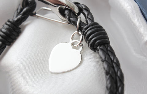 Ladies Black Leather Sterling Silver Heart Bracelet Engraved Free Personalised & Gift Boxed