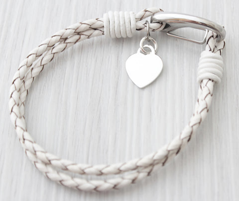 Ladies White Leather Sterling Silver Heart Bracelet Engraved Free Personalised & Gift Boxed