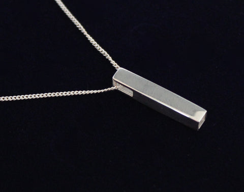 925 Sterling Silver Bar Necklace with Free Personalised Engraving & Gift Box