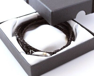 BOYS LEATHER WRAP BRACELET ENGRAVED / PERSONALISED -FREE GIFT BOX - Bluerock Bay®