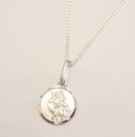 Ladies 925 Sterling Silver Saint Christopher Necklace Personalised Engraved, Gift Box