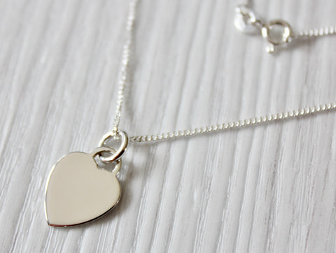 MILLY Ladies 925 Sterling Silver Heart Necklace, Personalised Engraving Gift Box