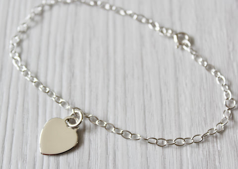 MILLY Ladies 925 Sterling Silver Heart Charm Bracelet, Personalised, Gift Boxed