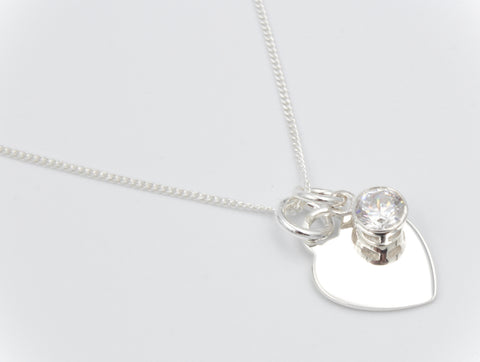 Sterling Silver Heart and 925 CZ Necklace with Personalised Engraving, Gift Boxed - Bluerock Bay®