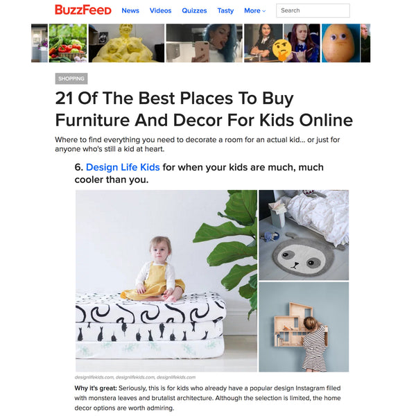 Design Life Kids featured on BuzzFeed Shopping