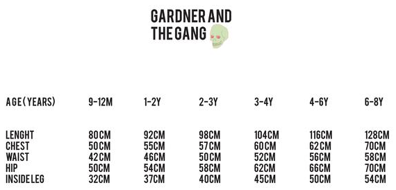 Gardner and the Gang Size Chart