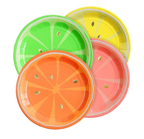 Meri Meri Neon Citrus Party Plates on DLK | designlifekids.com