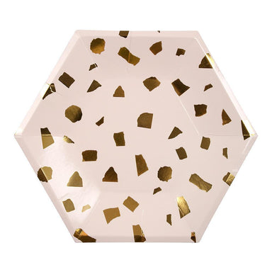 Meri Meri Blush Pink and Gold Terrazzo Party Plates on Design Life Kids
