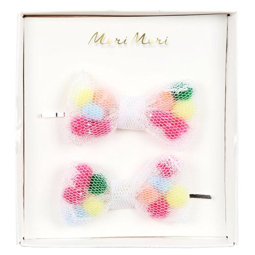Meri Meri Pom Pom Net Bow Hair Slides on DLK | designlifekids.com