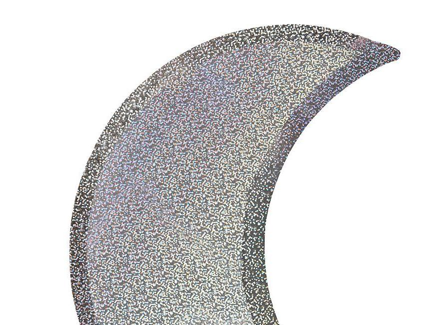 Silver Sparkle Moon Party Plates