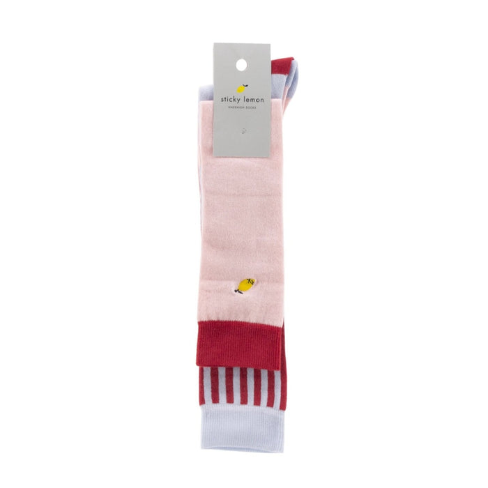 Sticky Lemon Knee High Deluxe Striped Socks on Design Life Kids
