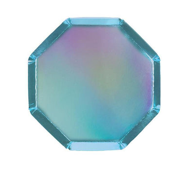 Meri Meri Holographic Blue Cocktail Plates on DLK | designlifekids.com