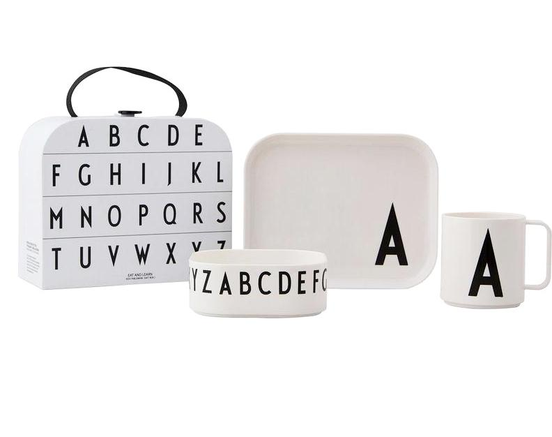 Design Letters Classics in a Suitcase Melamine Set on DLK | designlifekids.com