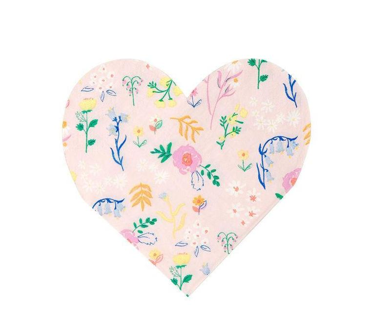 Meri Meri Wildflower Heart Shaped Napkins on DLK | designlifekids.com