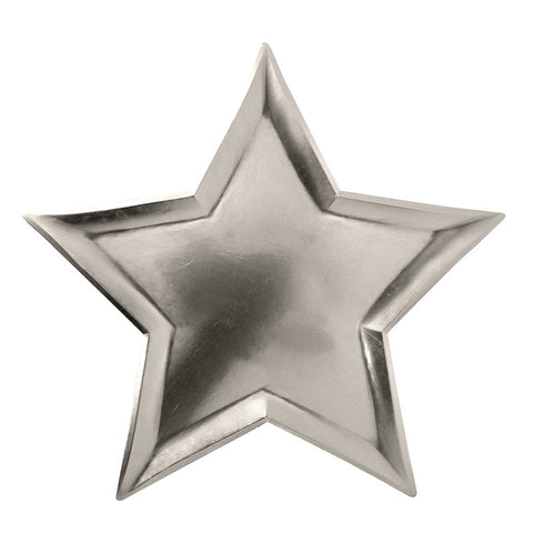 Meri Meri Silver Foil Star Paper Party Plates on DLK
