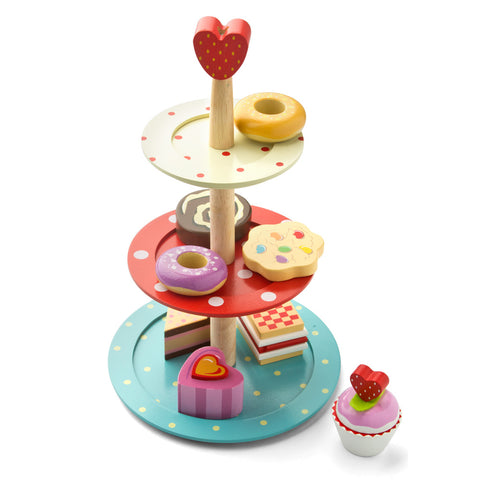 Le Toy Van Wooden Tiered Cake Stand Set on DLK | designlifekids.com