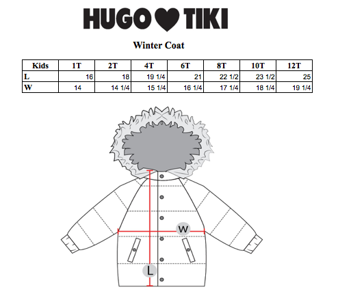 Hugo Loves Tiki Size Chart on DLK | designlifekids.com
