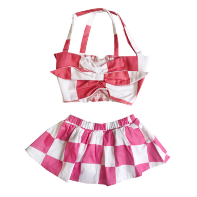 Banana Valentine Checkered Bandeau and Skirt on Design Life Kids