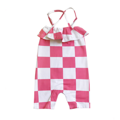 Banana Valentine Checkers Ruffled Criss Cross Romper on Design Life Kids