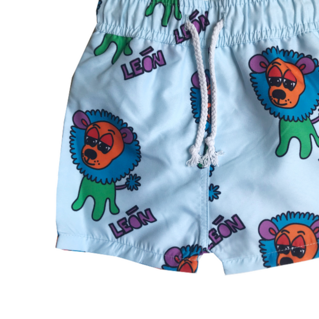 Banana Valentine Lion Swim Trunks on Design Life Kids