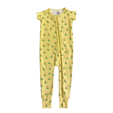 Banana Valentine Yellow Tulips Zippy Front Romper on Design Life Kids