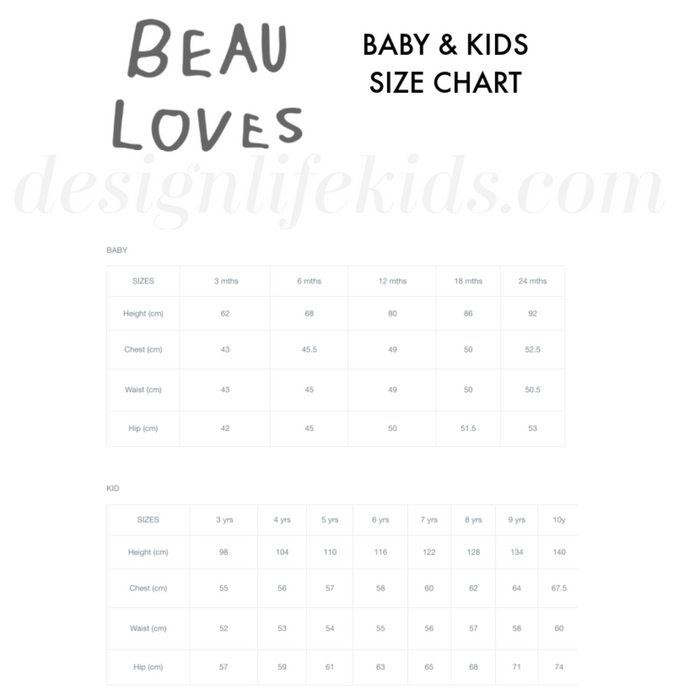 Beau Loves Size Chart on Design Life Kids