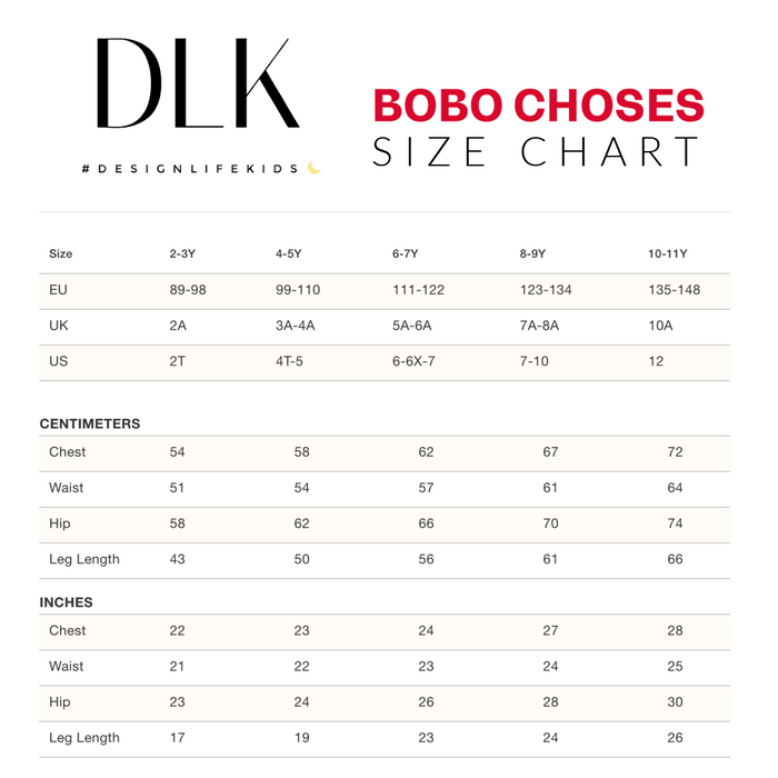 Bobo Choses Size Chart on Design Life Kids