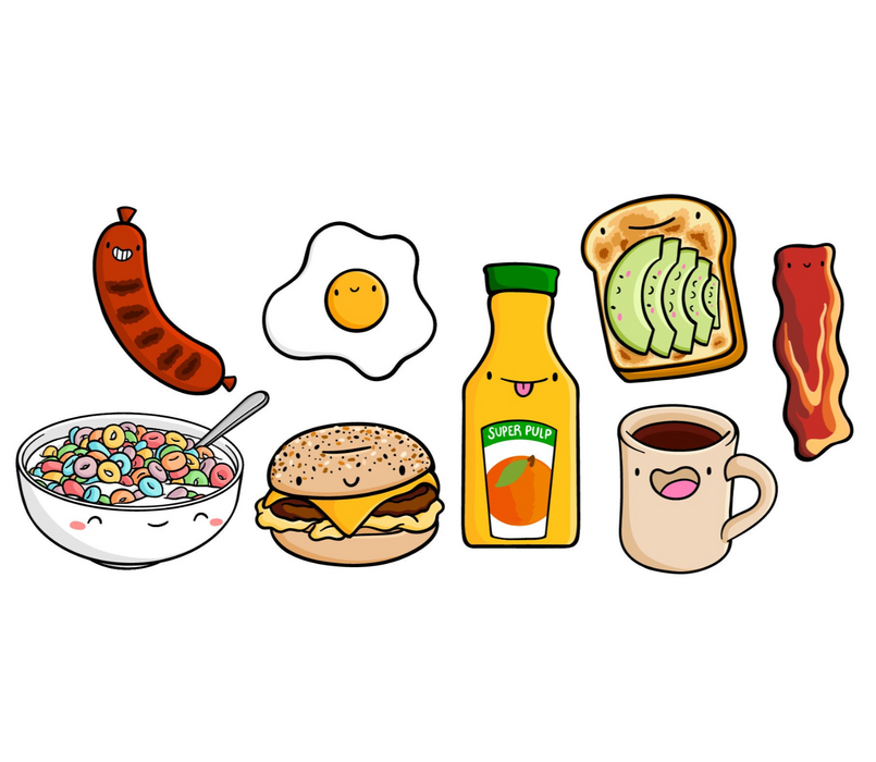 Emily McGaughey Kawaii Breakfast Stickers on Design Life Kids