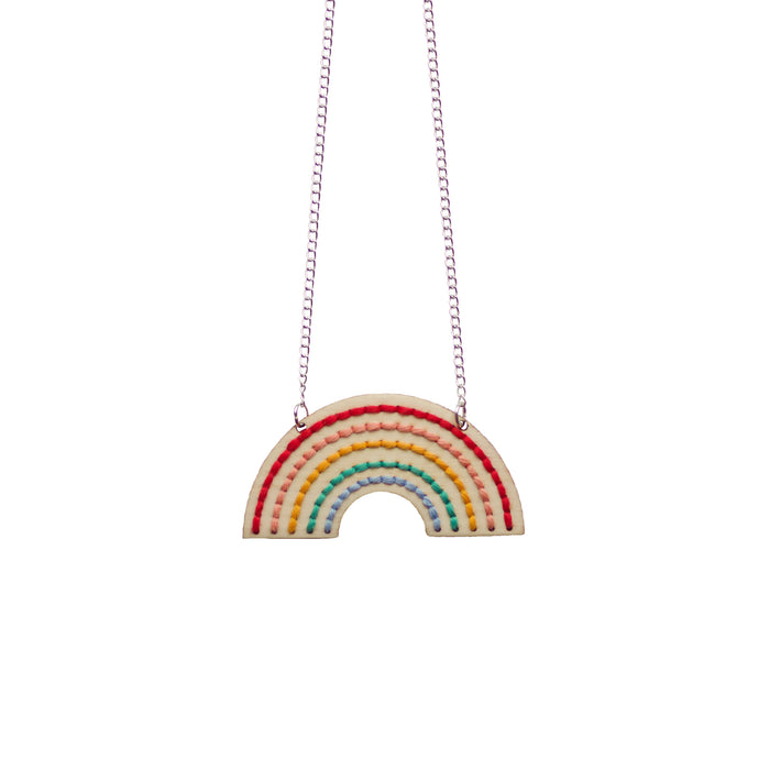 Cotton Clara Rainbow Embroidery Necklace on Design Life Kids
