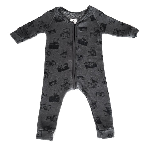 Kira Kids Camera Print Sweatshirt Romper on DLK