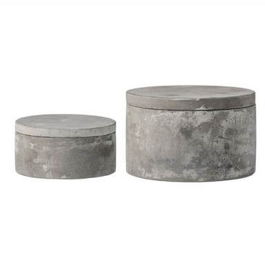 Bloomingville Cement Boxes with Lids Set on Design Life Kids