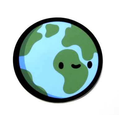 Emily McGaughey Kawaii Earth Vinyl Sticker on Design Life Kids