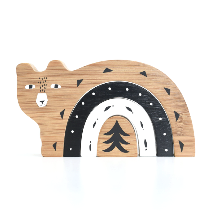 Wee Gallery Wooden Bamboo Nesting Bear on Design Life Kids