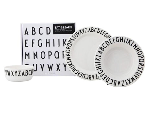 Design Letters Eat & Learn Melamine Giftbox Set on DLK | designlifekids.com
