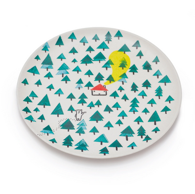 Fable New York Bear In The Woods Bamboo Plate on Design Life Kids
