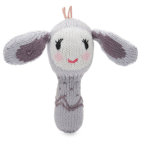 Finn + Emma Bunny Mini Rattle on DLK | designlifekids.com