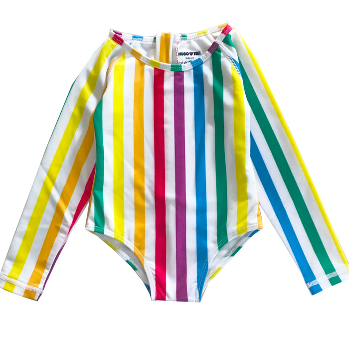 Hugo Loves Tiki Rainbow Stripe Surf Onesie on Design Life Kids