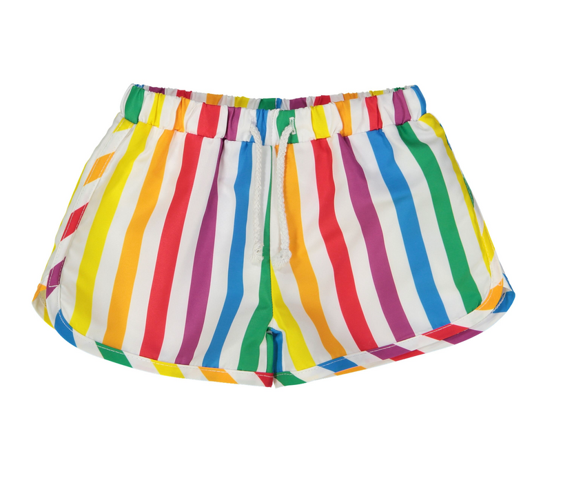 Hugo Loves Tiki Rainbow Stripe Swim Trunks on Design Life Kids